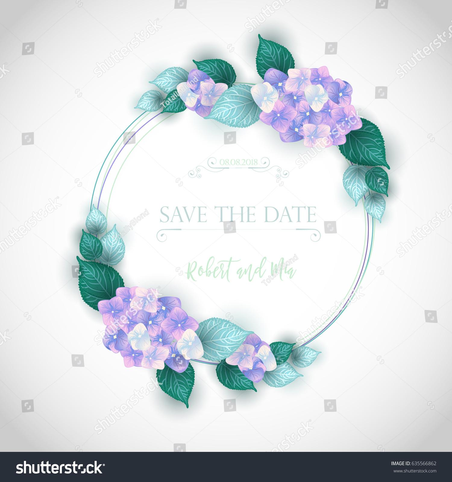 Purple hydrangea wedding invitation sample - Vector Flower Wedding Invitation Card With Purple Hydrangea Frame Romantic Design With Blooming Hand Drawn