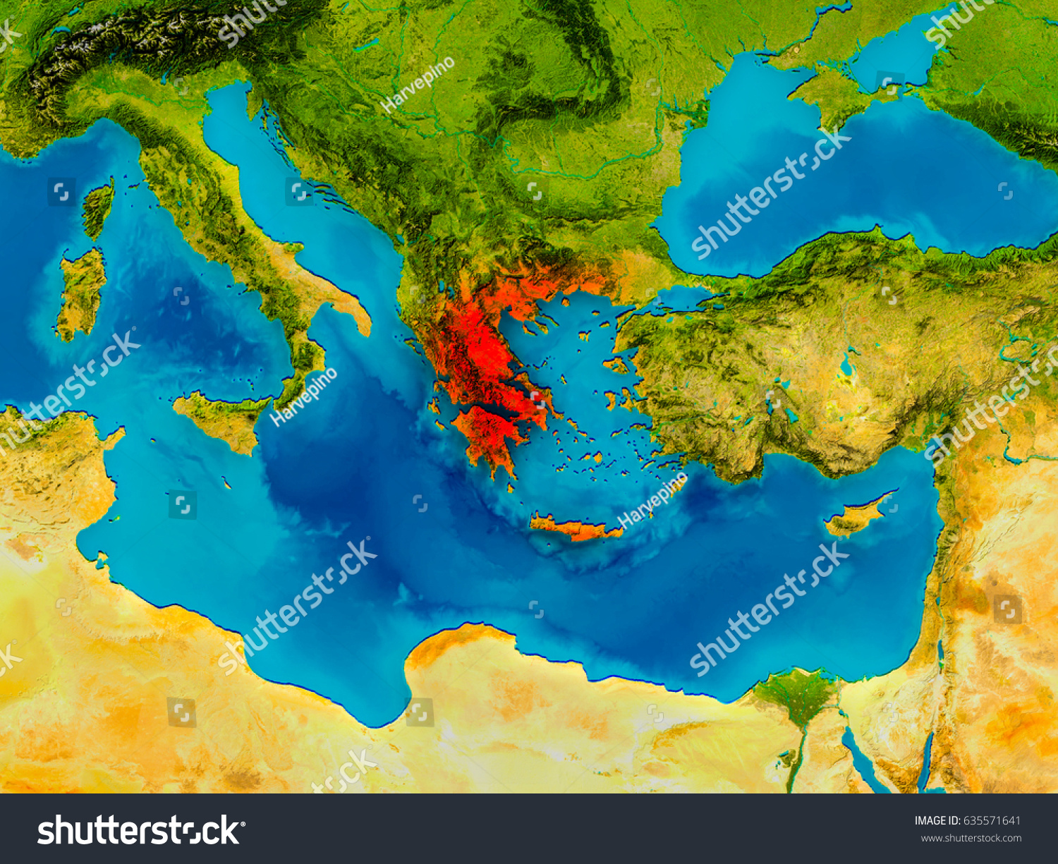 Greece highlighted red on physical map stock illustration 635571641 greece highlighted in red on physical map 3d illustration elements of this image furnished gumiabroncs Choice Image