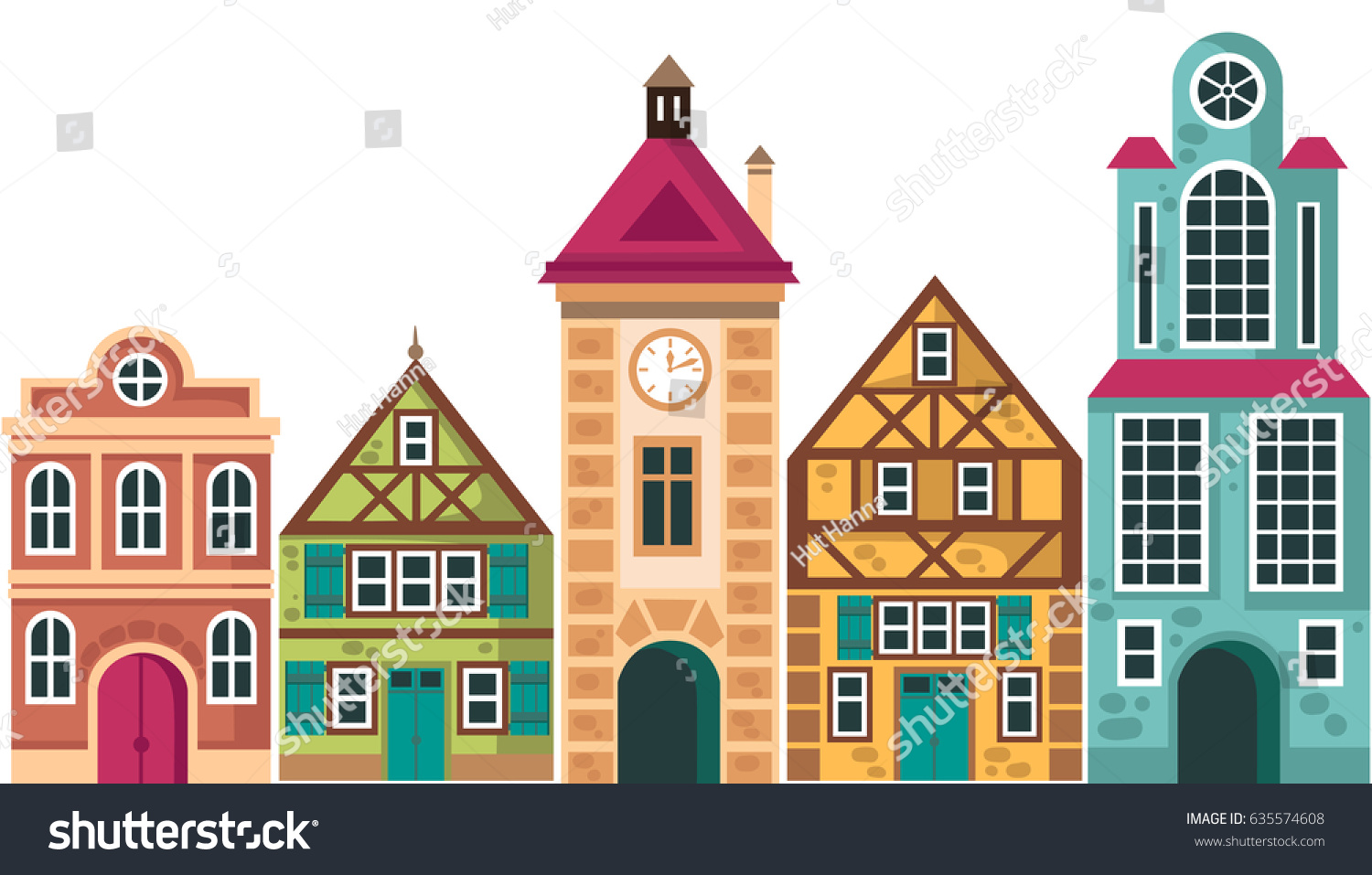 House design cartoon - Row Of Different Houses Houses Cottage Buildings Vector Cartoon Illustration Exterior Design