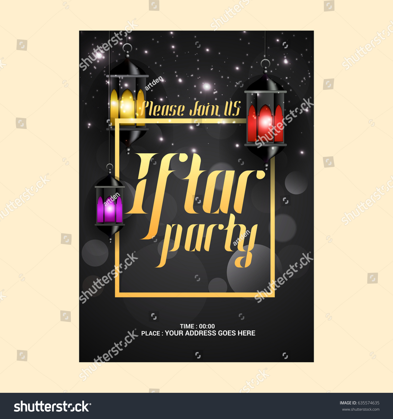 creative abstract party invitation flyer iftar のベクター画像素材