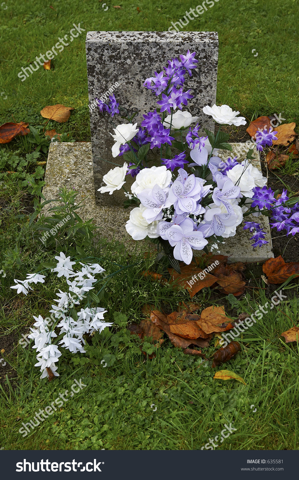Purple White Flowers On Grave Batsford Stock Photo Edit Now 635581