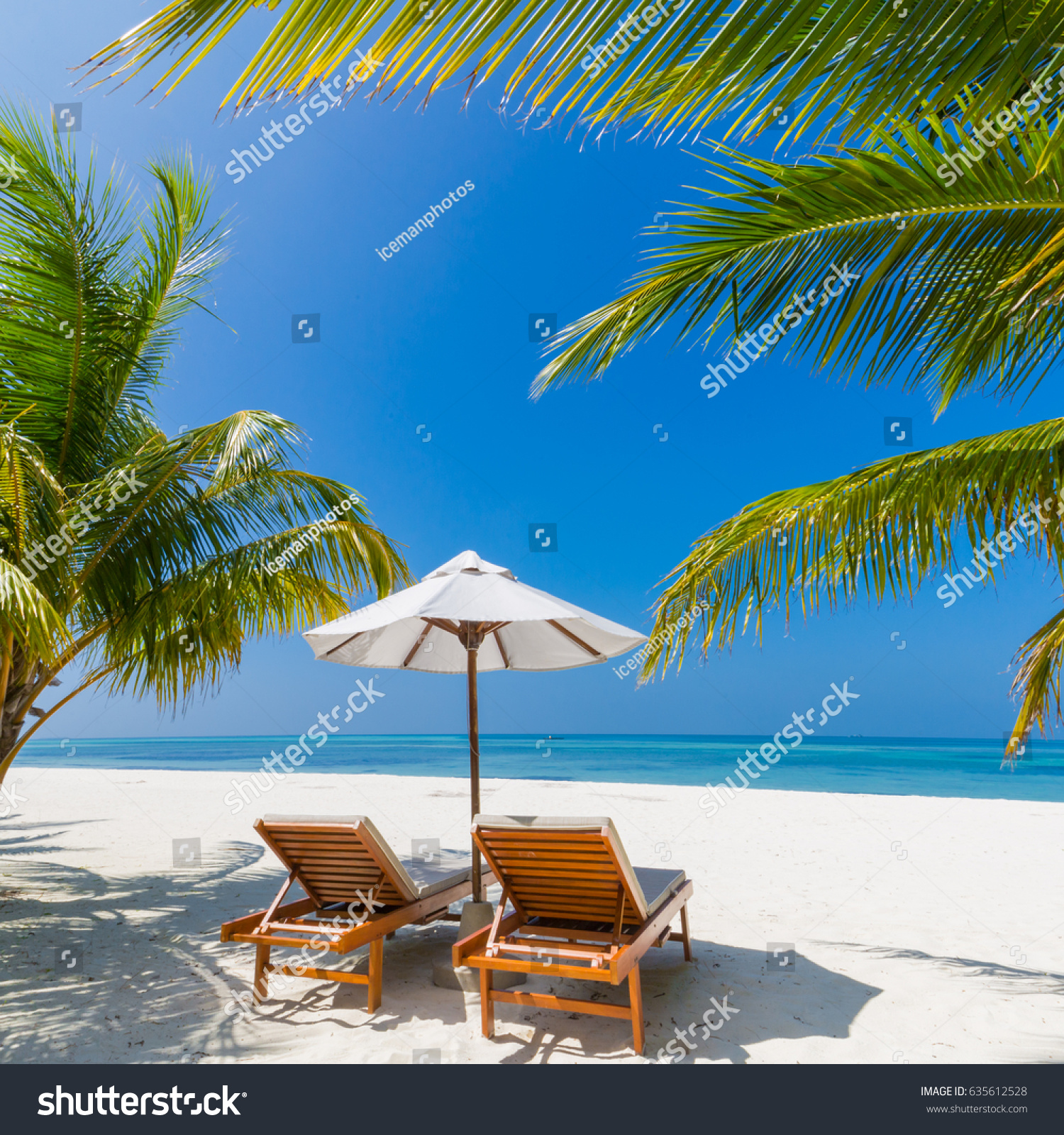 Beautiful Beach Landscape Idyllic Tropical Scenery Stock Photo Royalty Free 635612528