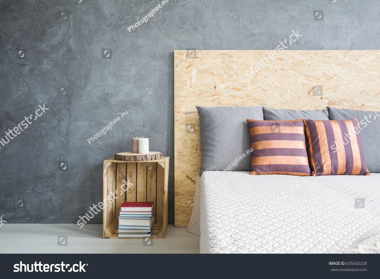 Wooden Headboard Comfortable Bed Cozy Bedroom Stock Photo Edit Now 635630228