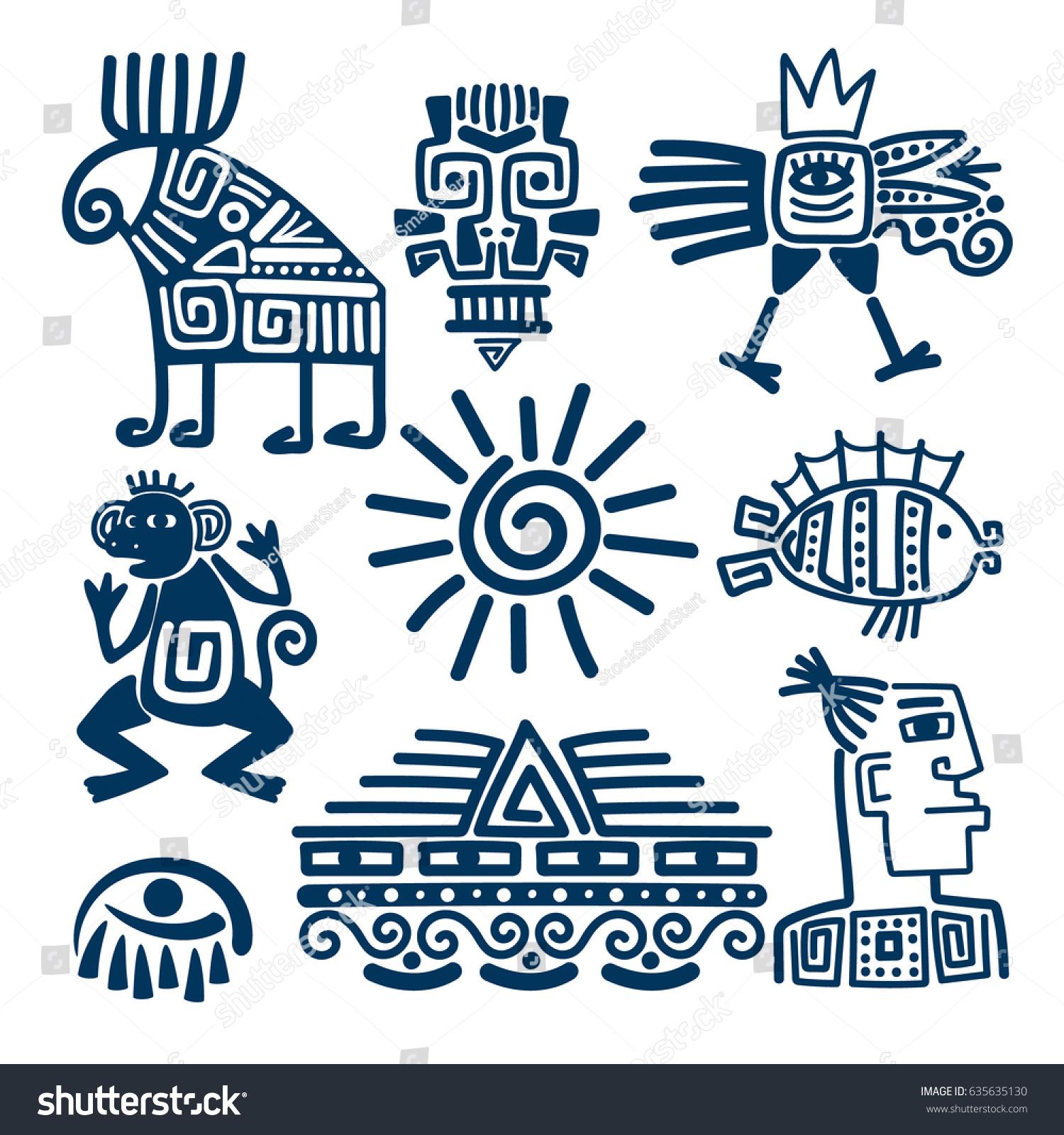Maya Inca Style Blue Linear Totem Stock Vector Royalty Free