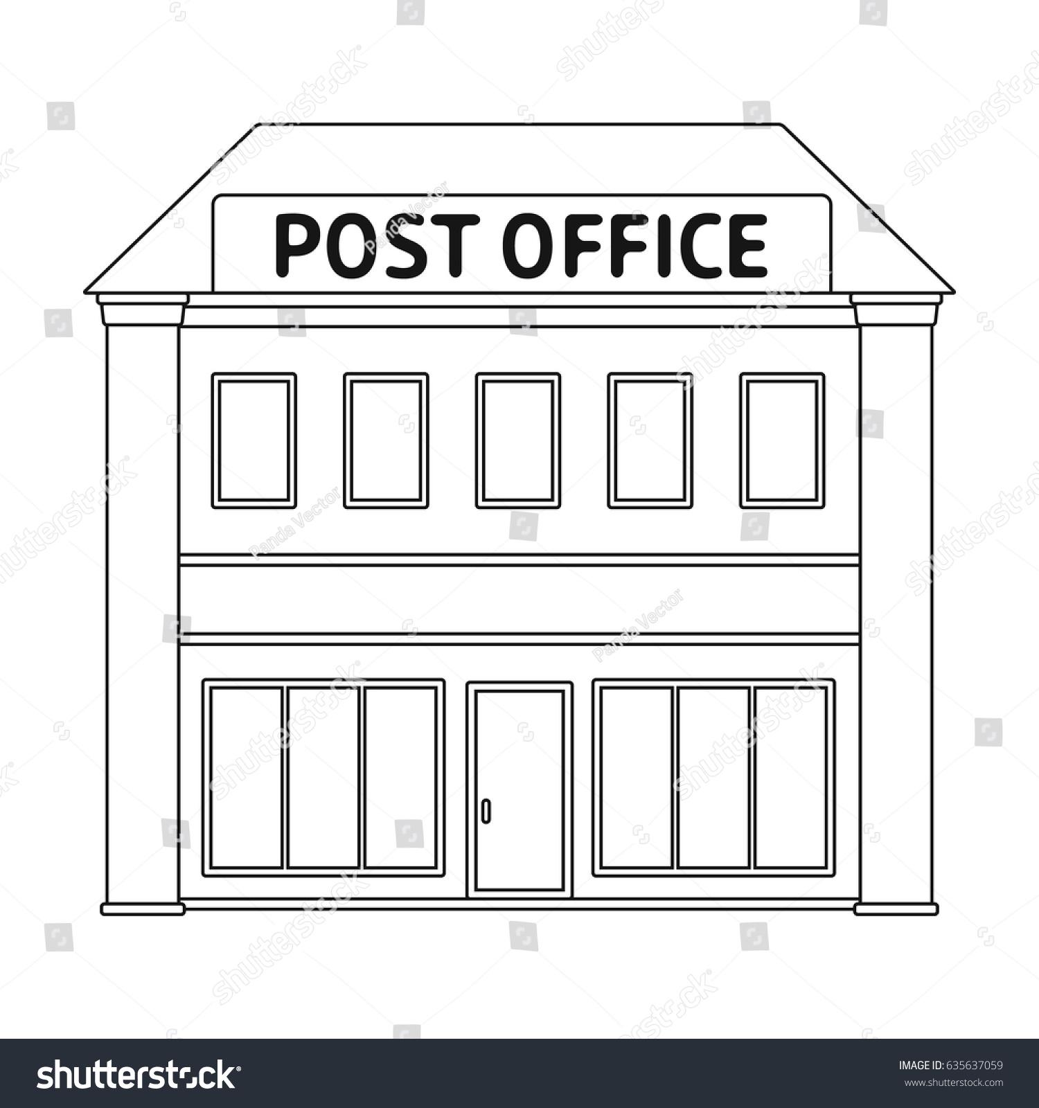 Post Office Mail Postman Single Icon Outline Stock Vektorgrafik