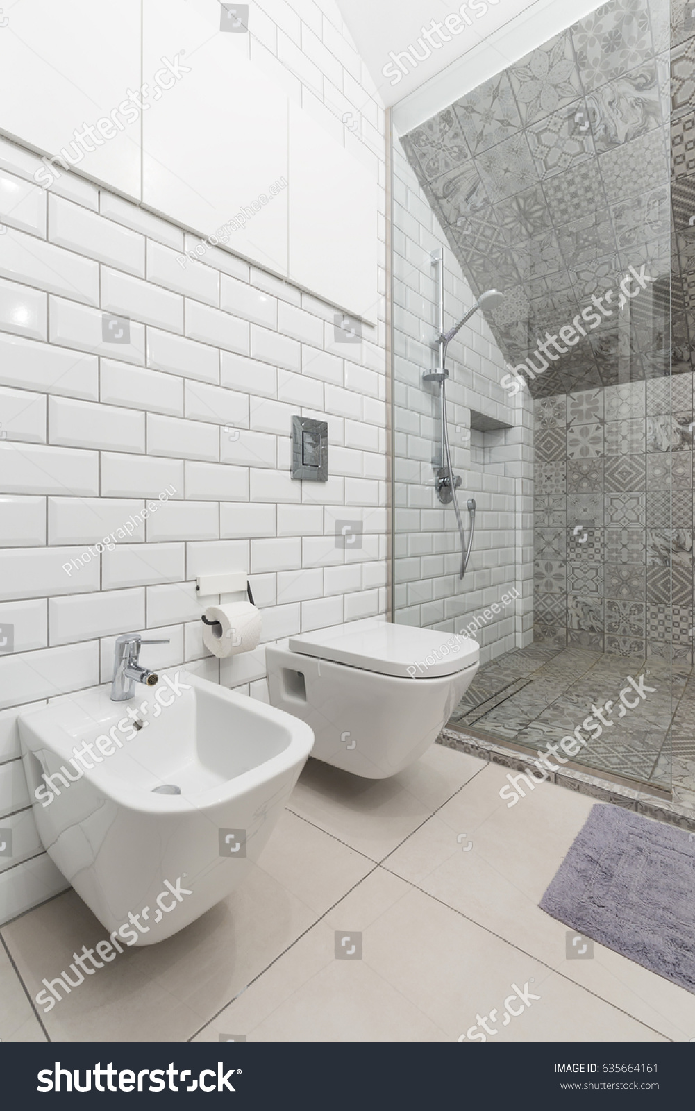 White Brick Tiles Creative Bathroom Toilet Stock Photo (Edit Now ...