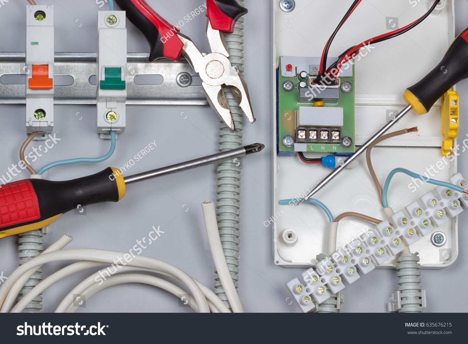 Installation Electrical Devices Wires Distribution Board Stock Photo Wiring Of In