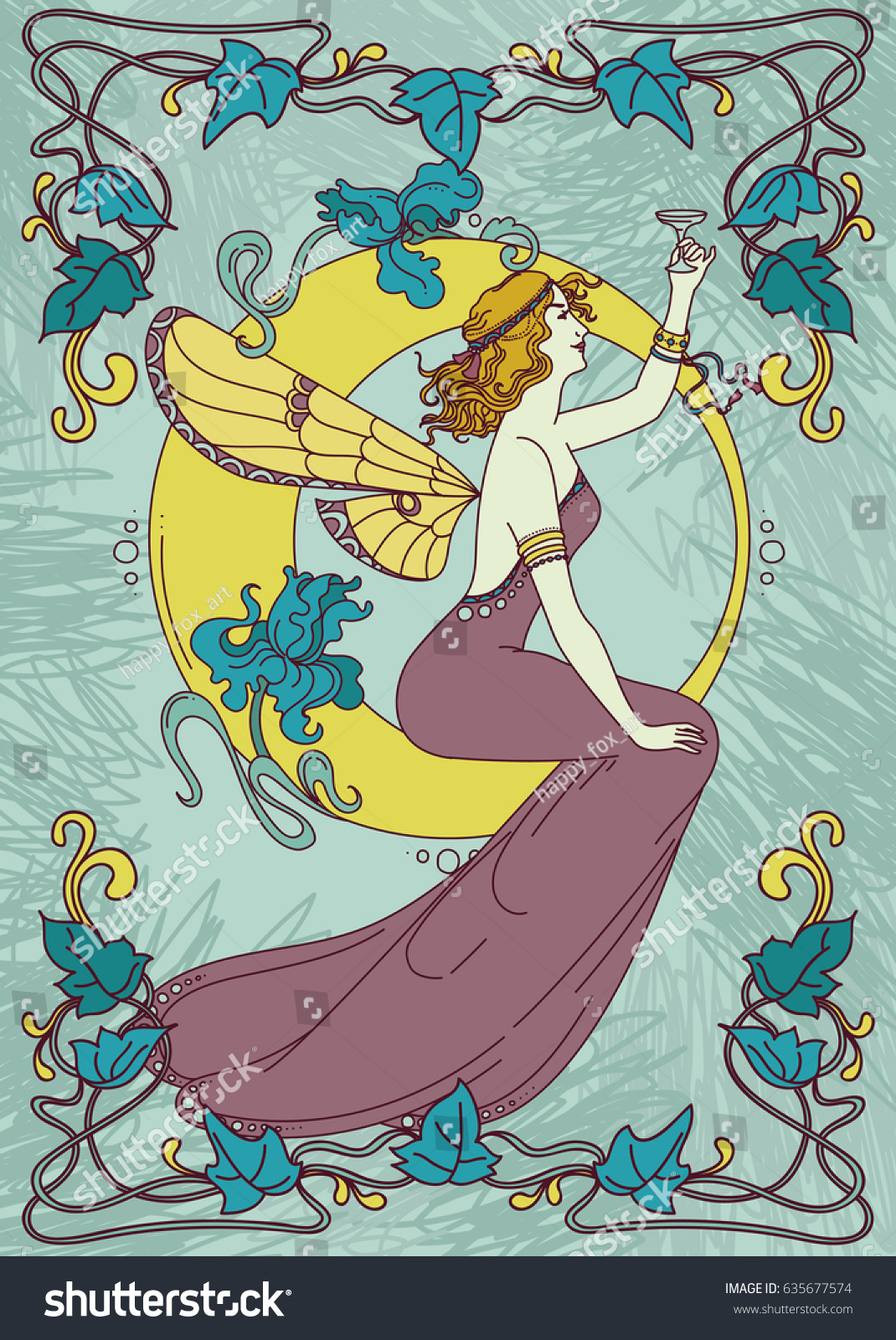 beautiful poster art nouveau style fairy stock vector 635677574