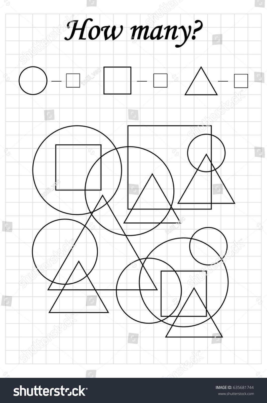 mathematics task how many objects learning stock vector 635681744