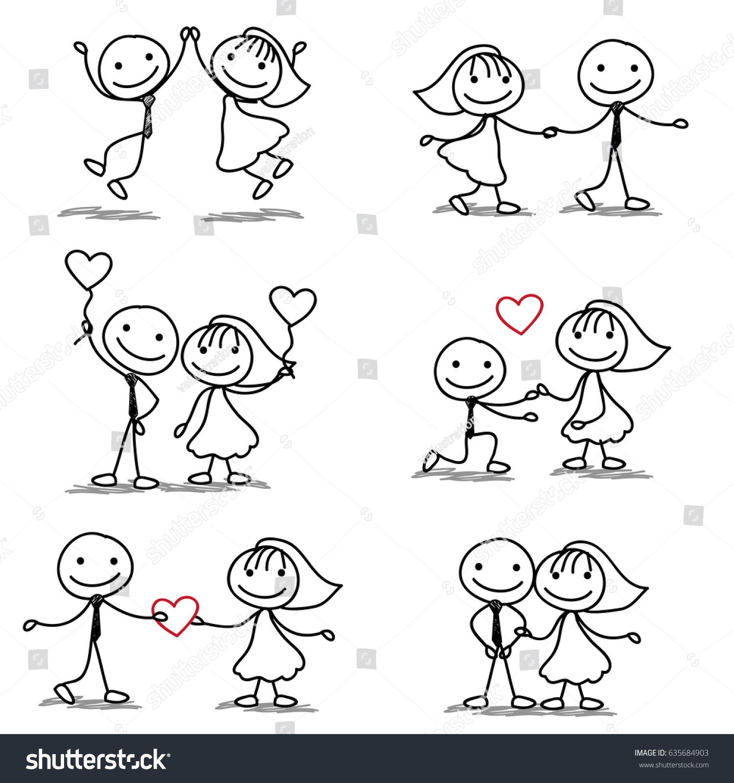 six cute fun stick figure wedding stock vector royalty free