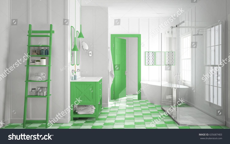 Scandinavian Minimalist White Green Bathroom Shower Stock ...