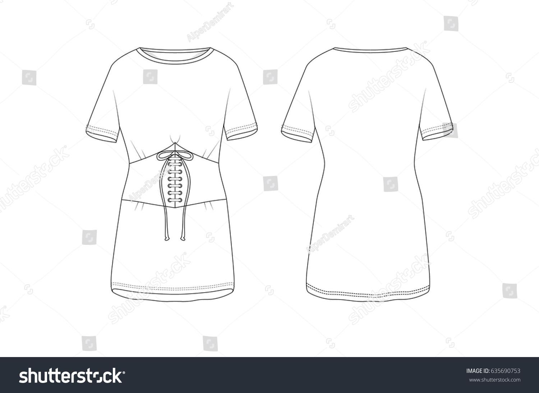 Corset Front T Shirt Template Stock Vector 635690753 - Shutterstock