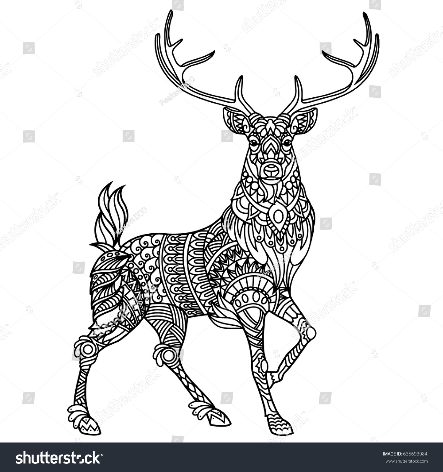 Stag Coloring Book Adults Stock Vector 635693084 - Shutterstock
