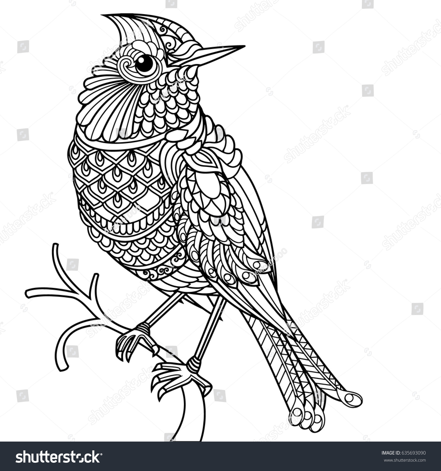 Bird Coloring Book Adults Stock Vector 635693090 - Shutterstock