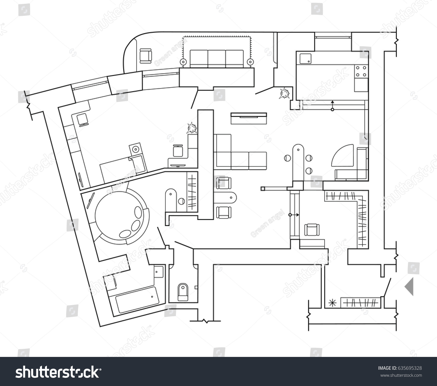 Floor Plan   Top View Plans. Standard Home Furniture Symbols Set Used In  Architecture Plans