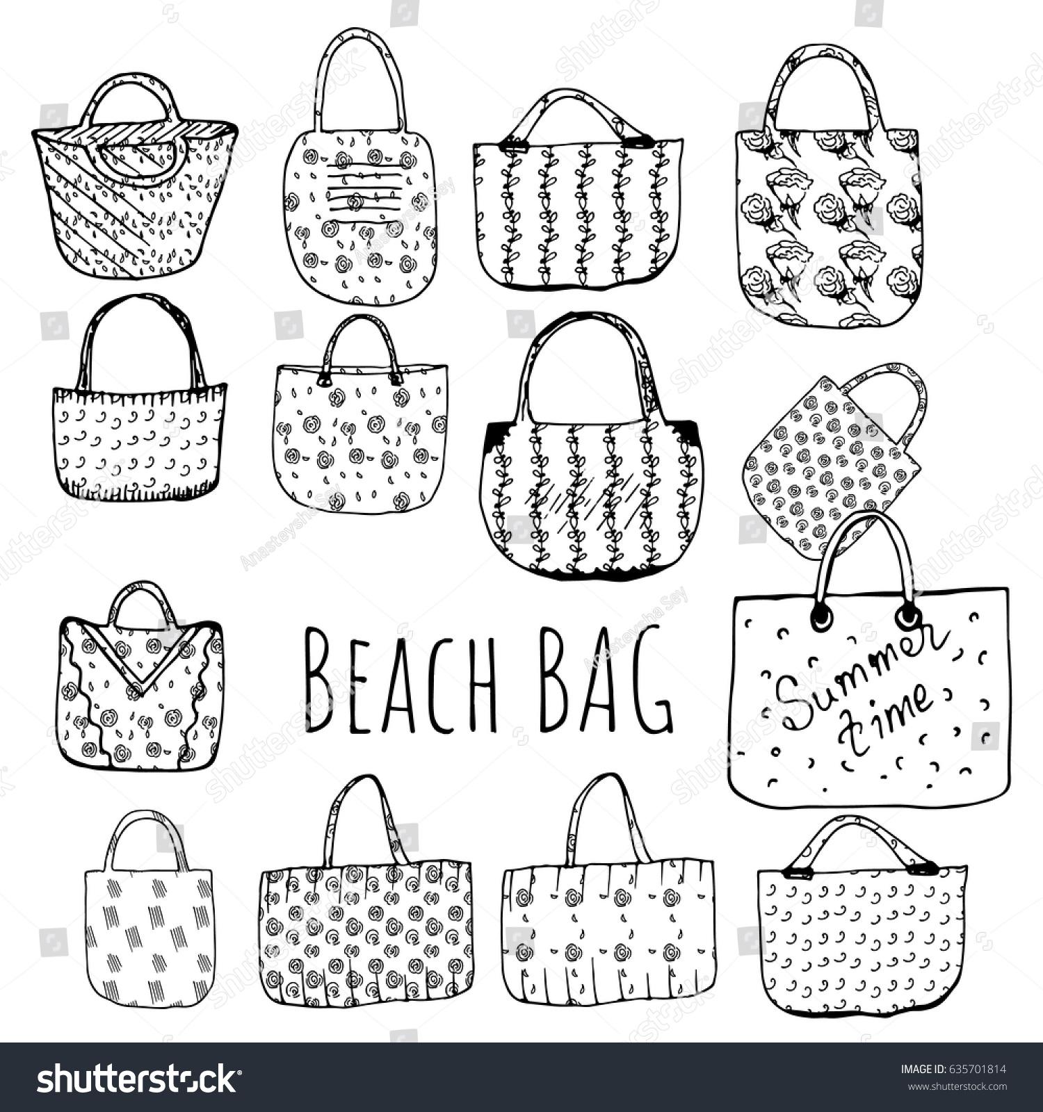 Beach Bag Hand Draw Dark White Stock Vector Royalty Free 635701814