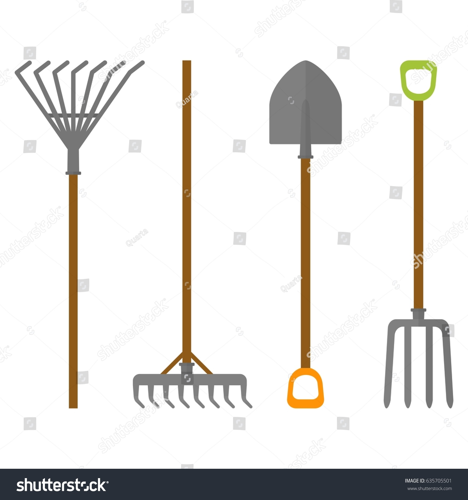Set garden tools working garden farm stock vector for Gardening tools cartoon