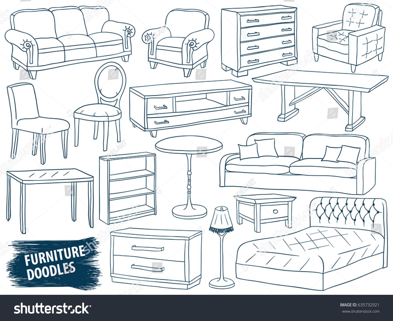 Furniture doodles set interior design sketch collection home accessories modern armchair retro