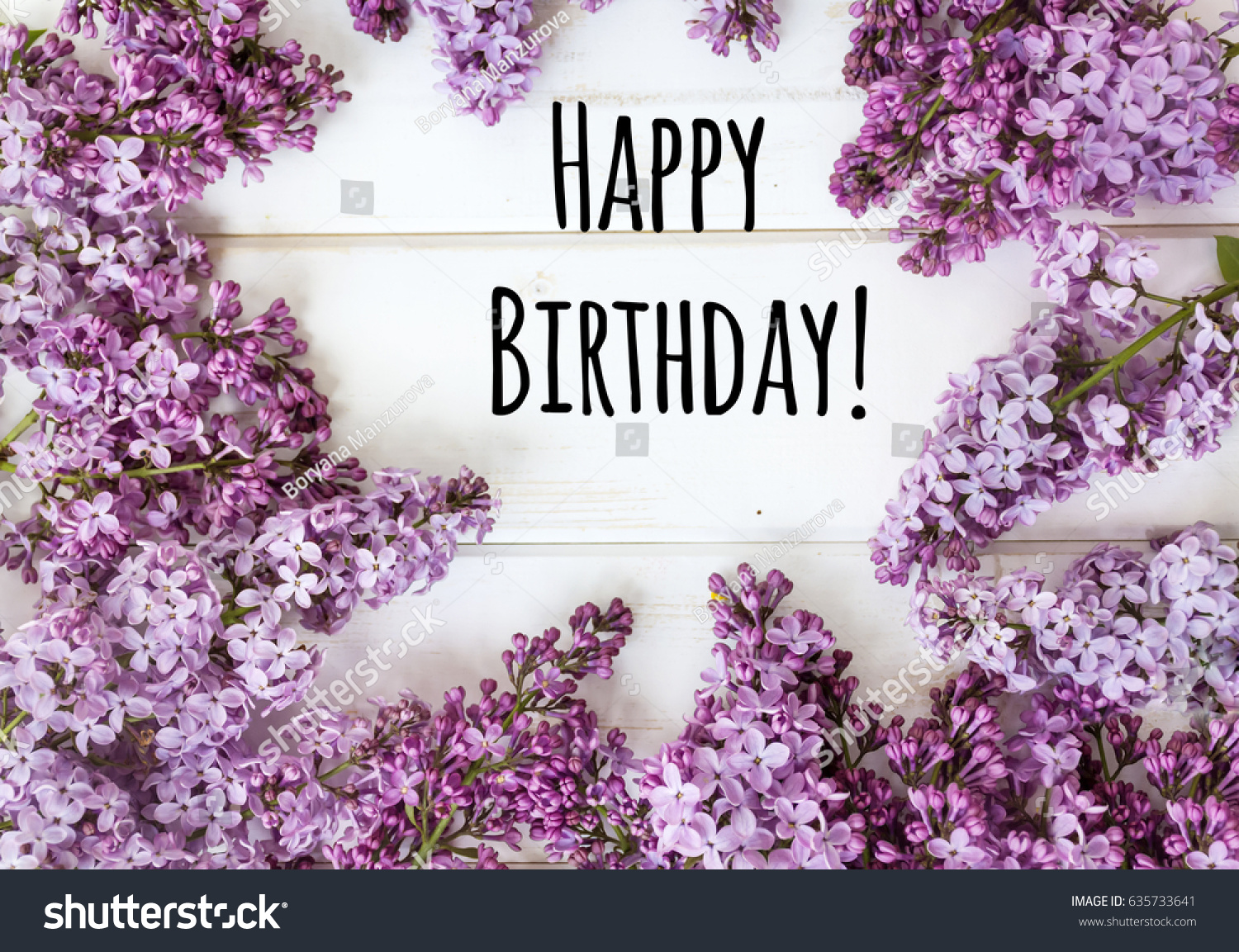 Happy Birthday Message Lilac Flowers On Stock Photo Edit Now