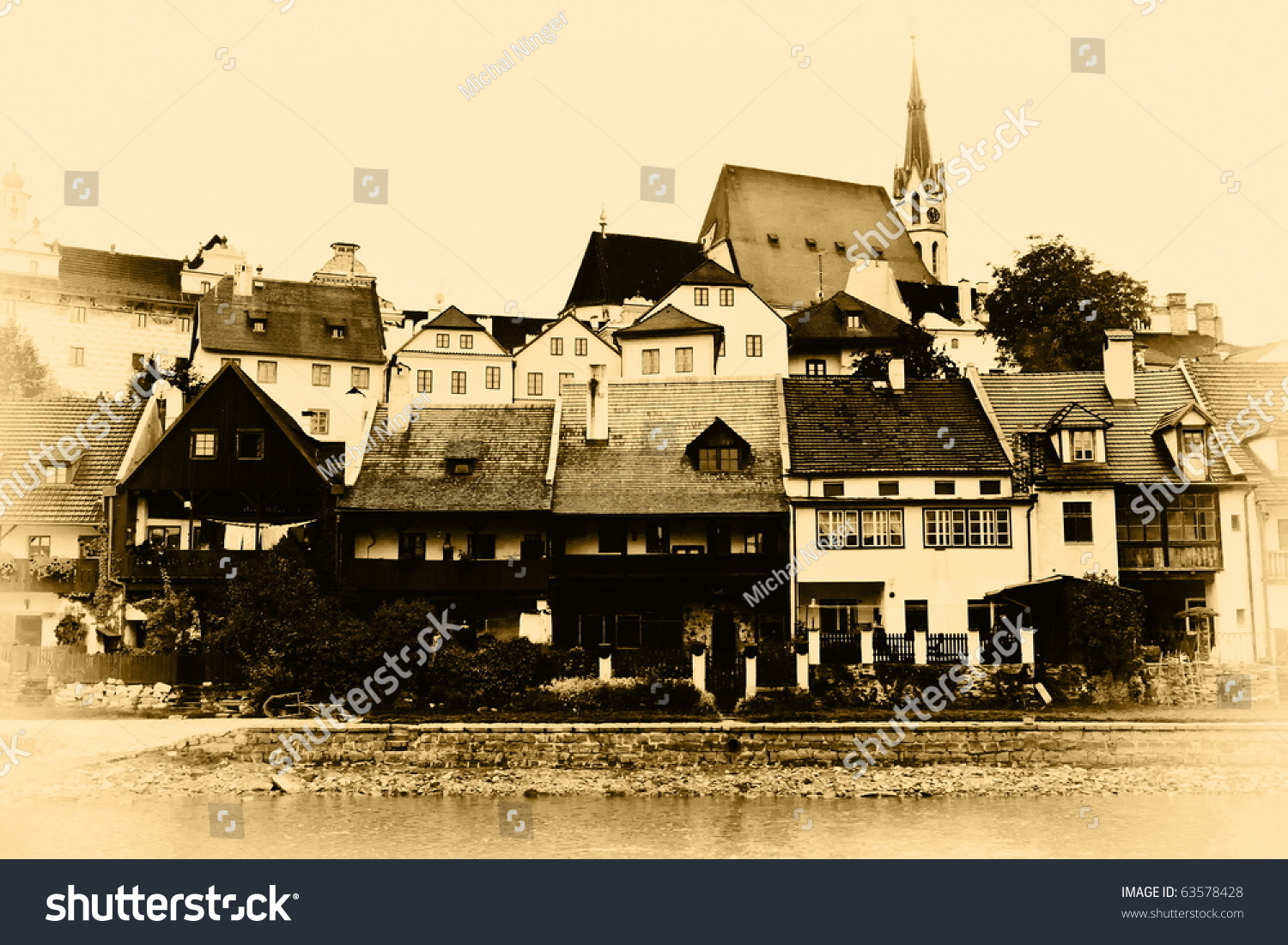 old European city, in imitation of historical photography sepia