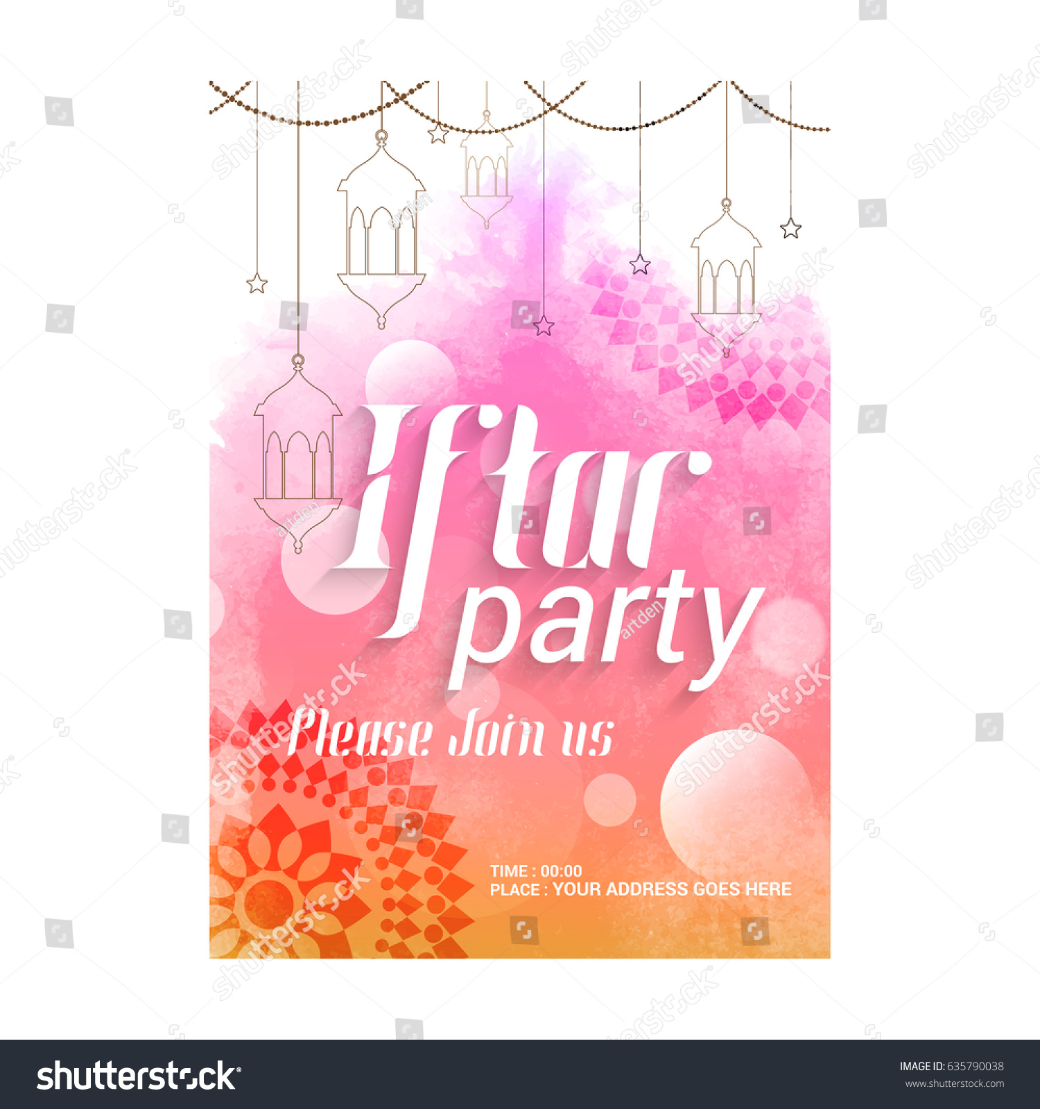 Creative Abstract Party Invitation Flyer Iftar Stock Vector ...