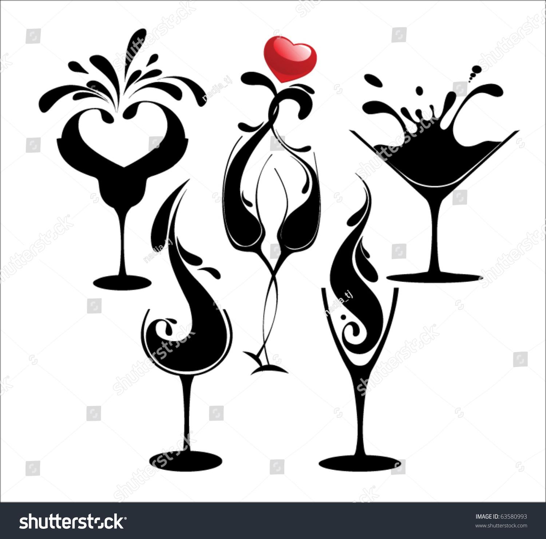 silhouette glasses  Set Cocktail Silhouette Glasses Stock Vector 63580993 - Shutterstock
