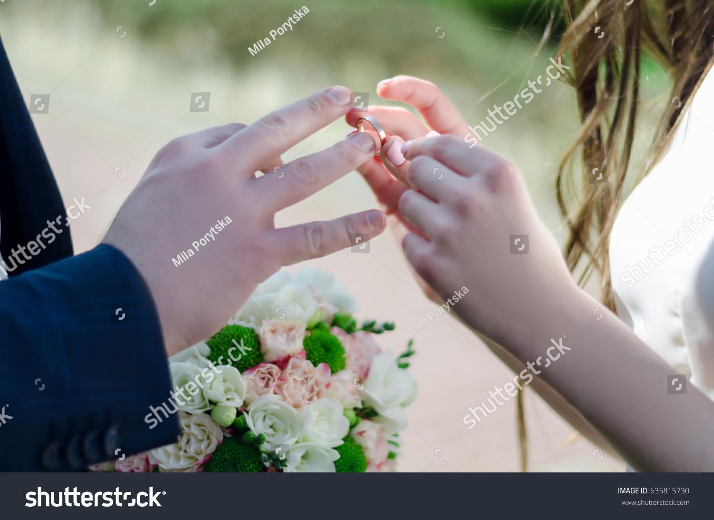 Woman Wears Wedding Ring On Mans Stock Photo 635815730 Shutterstock