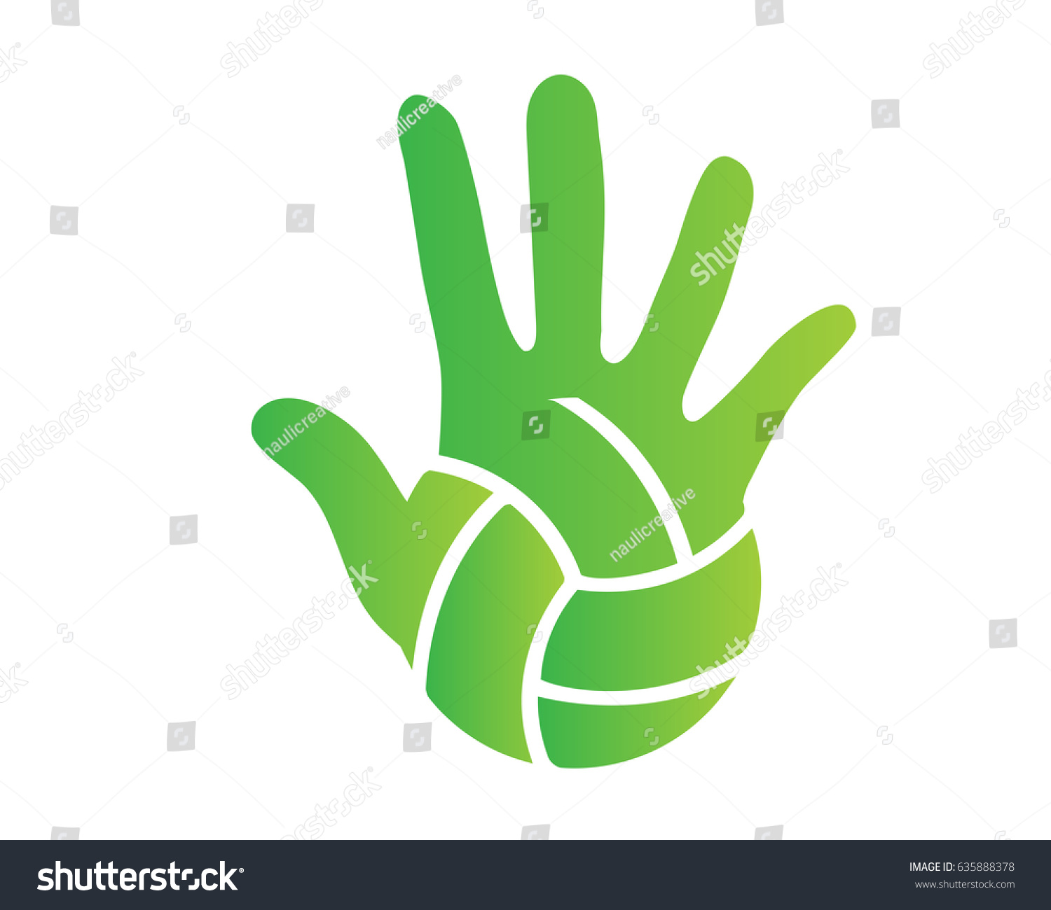 Modern Volleyball Logo Green Hand Palm Stock Vector Royalty Free
