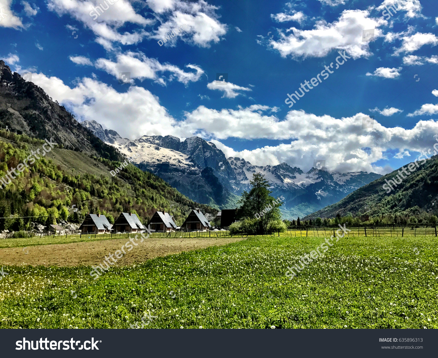 Wonderful Mountain landscape in Valbona Albania #635896313