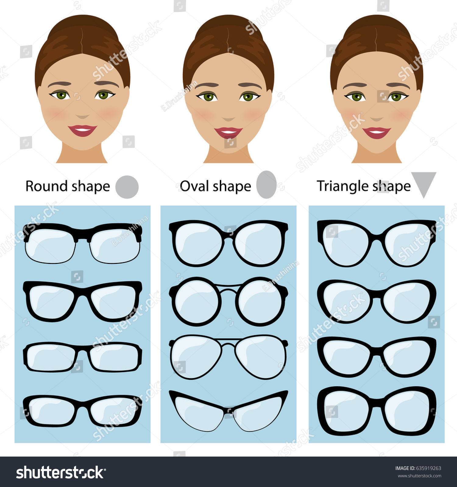 Spectacle Frames Shapes Different Types Women Stock Vector (2018 ...