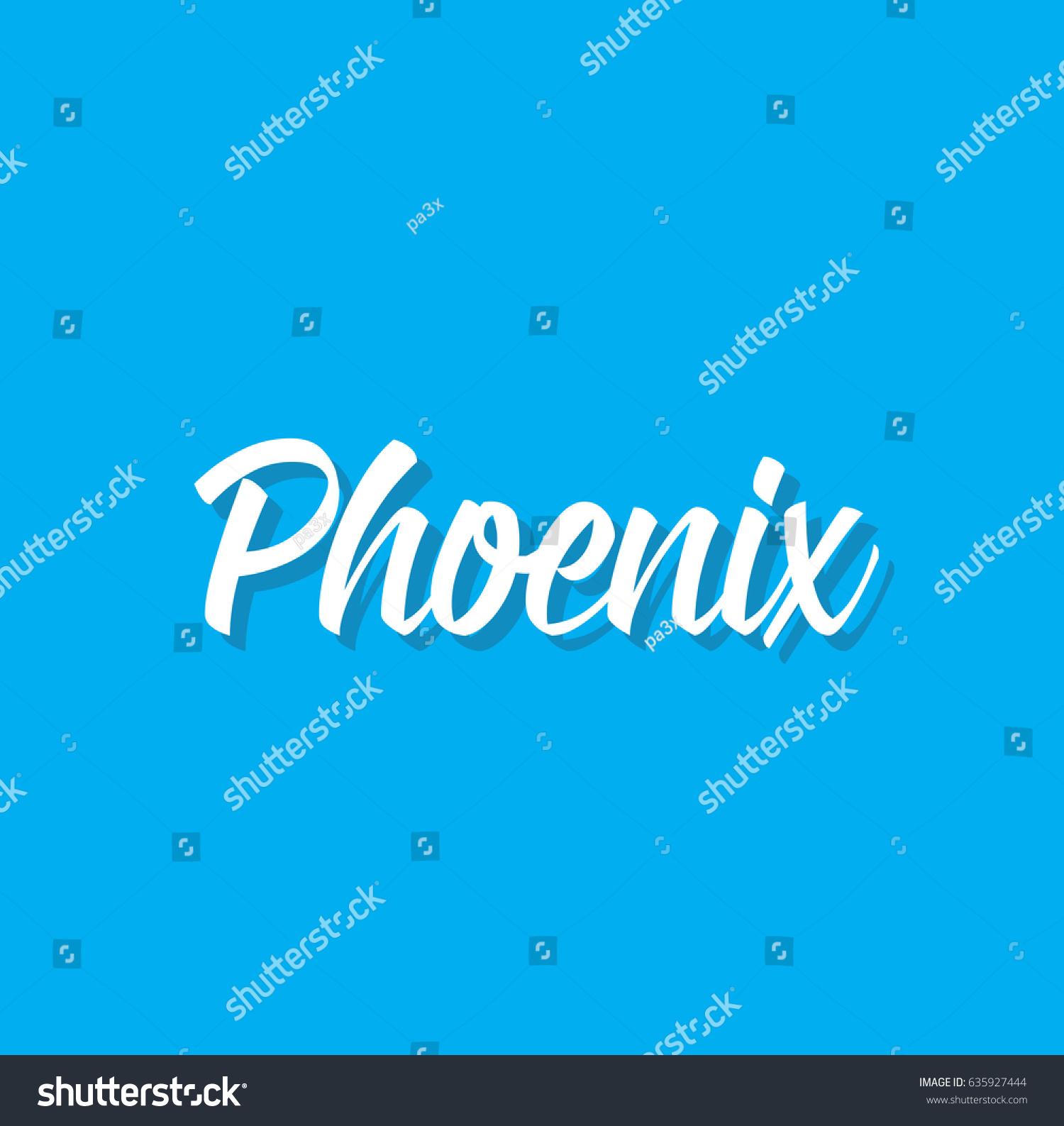 Phoenix Text Design Vector Calligraphy Typography Stock