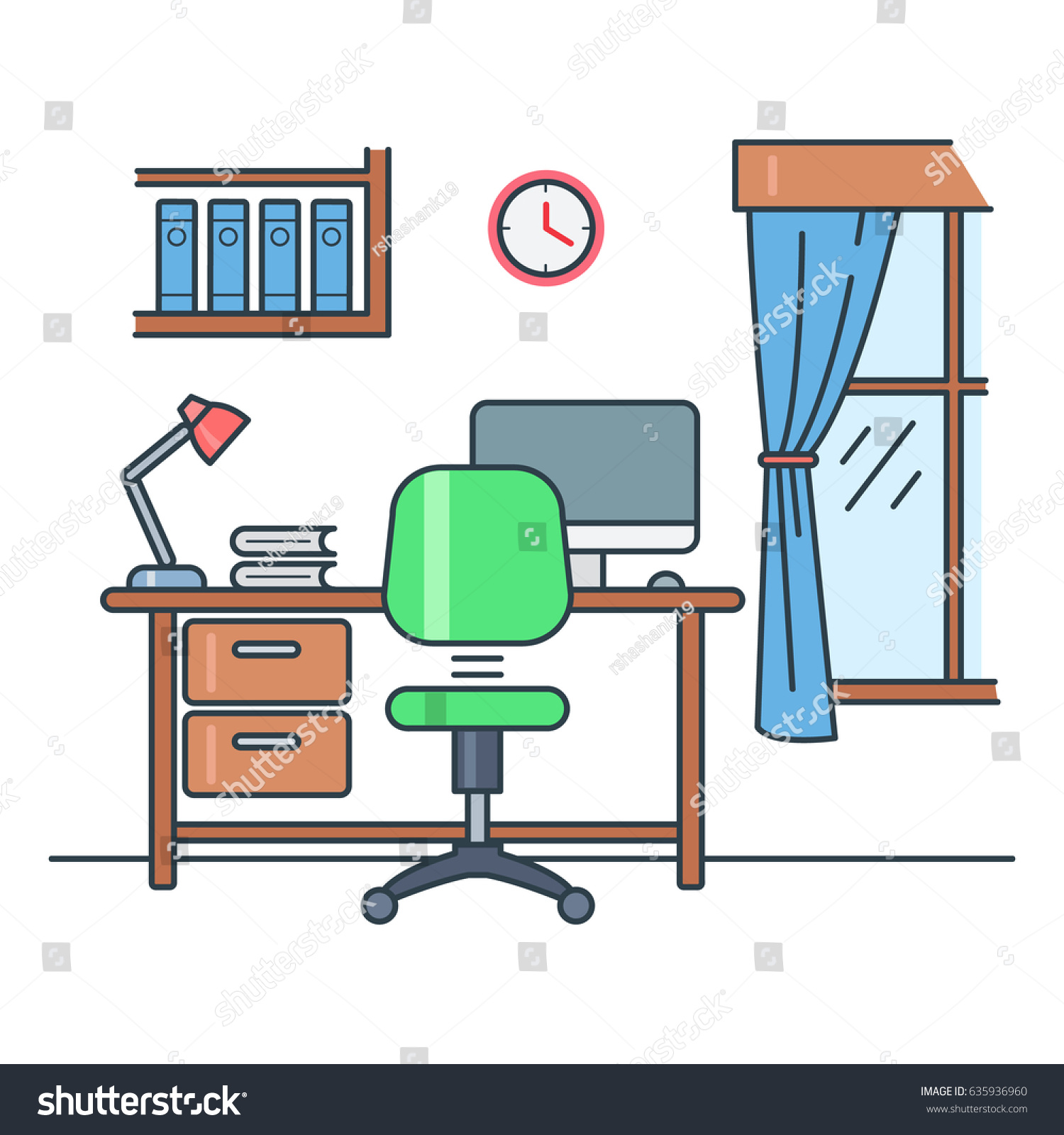 Study Room Stock Vector 635936960 Shutterstock