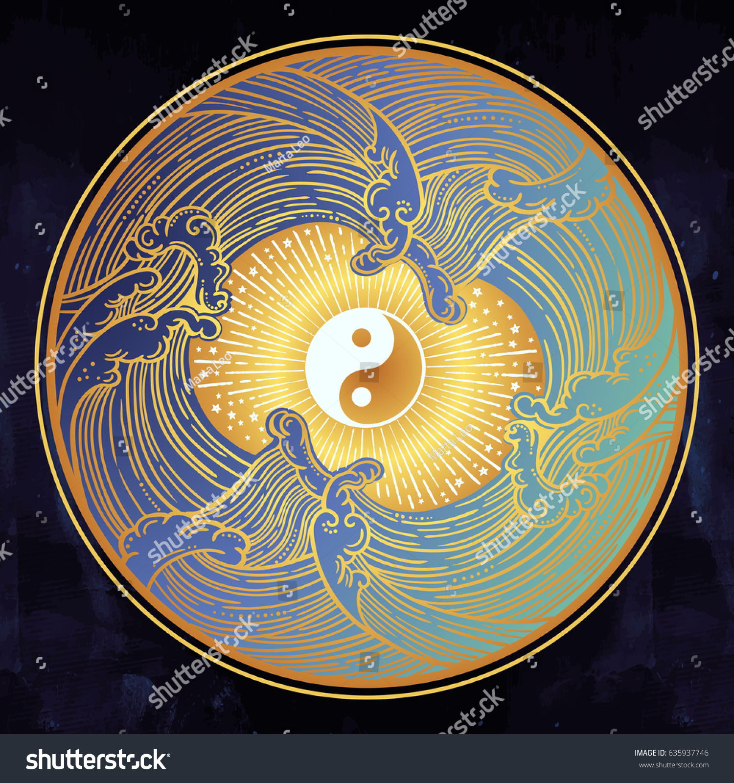 Decorative Water Waves Symbol Harmony Male Stock Vector 635937746