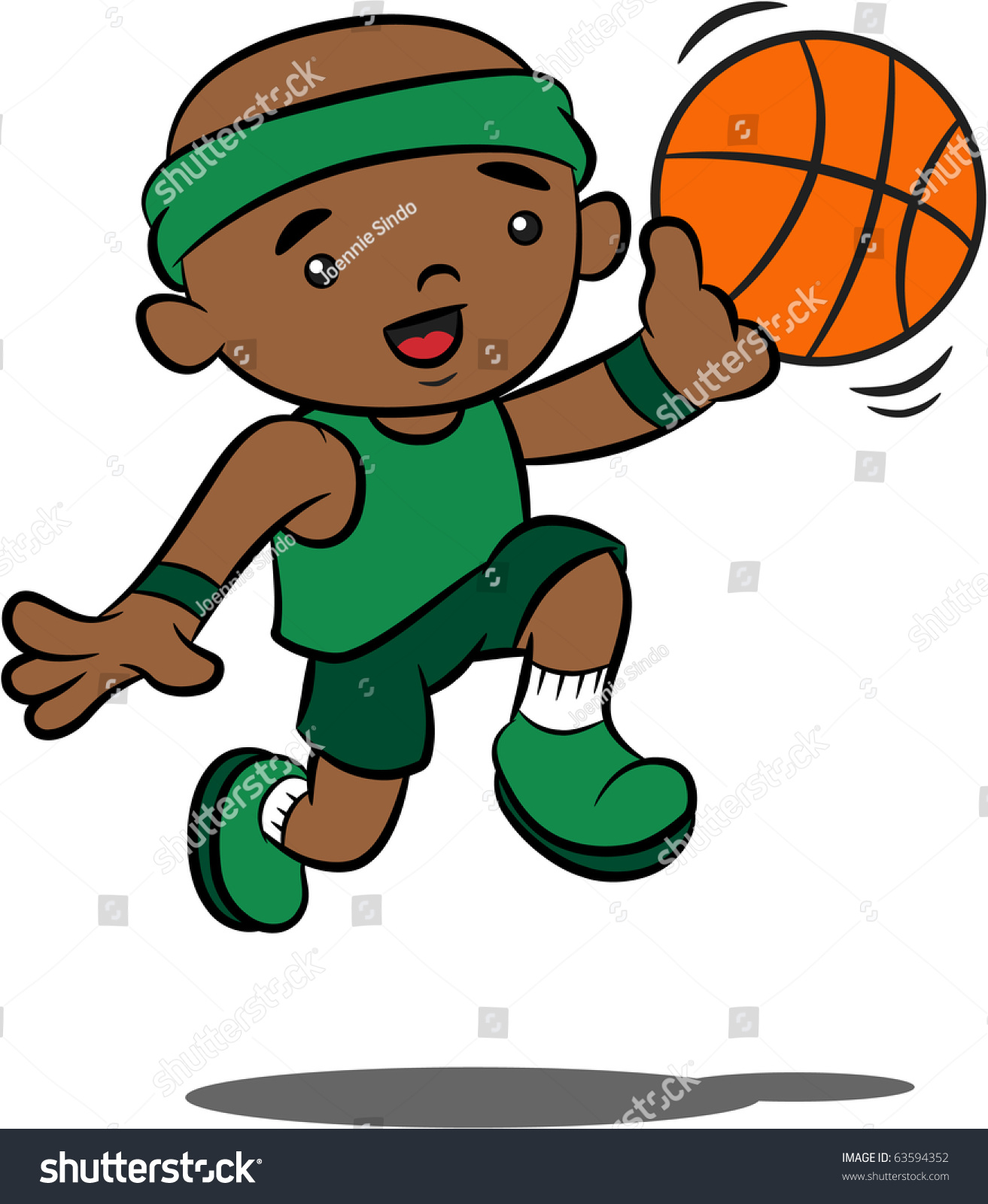 Black kid shooting basketball