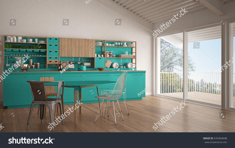 Minimalist white and turquoise wooden kitchen, big panoramic window ...