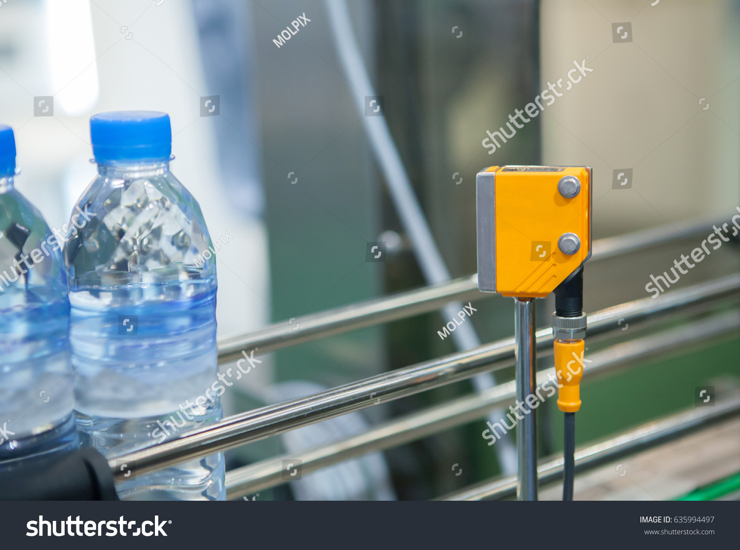 Photoelectric Sensor Installed On Water Production Stock Photo (Edit ...