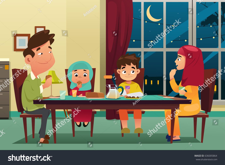 Vector Illustration Muslim Family Eating Dinner 636005864 on Children Christmas Clipart