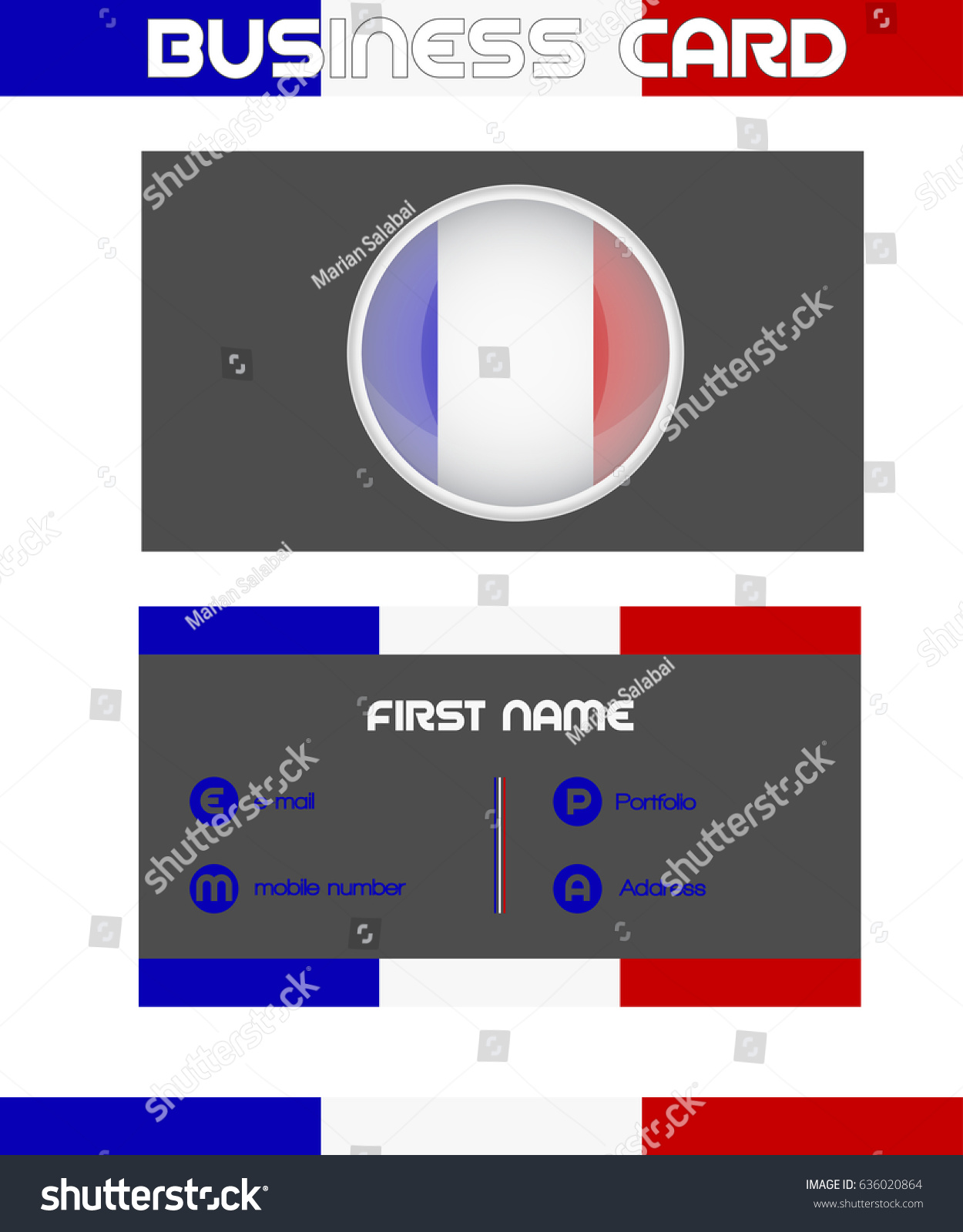 Business Card France Stock Vector Royalty Free 636020864