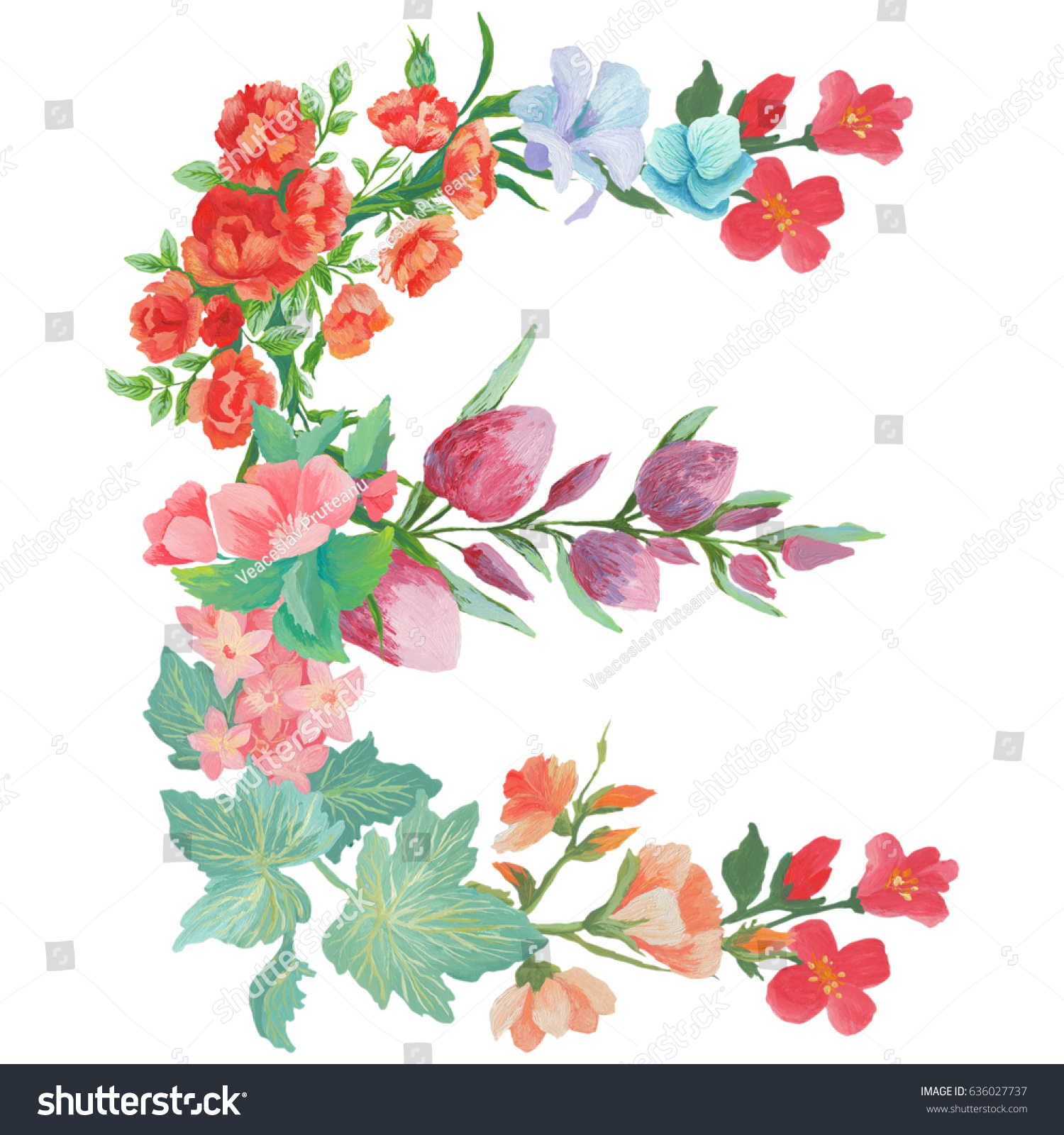 Capital Letter E Watercolor Flowers Isolated Stock Illustration
