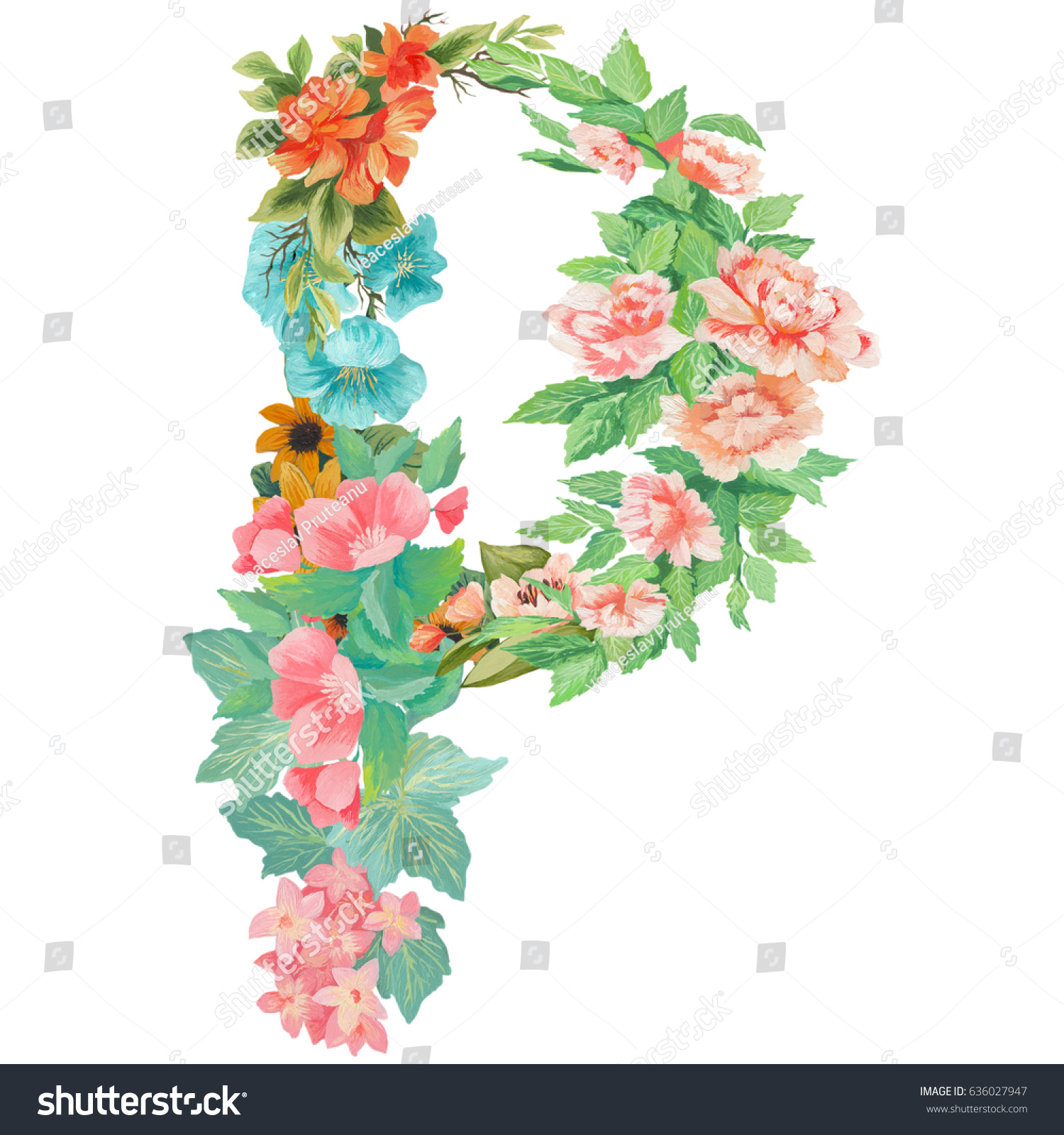 capital letter p of watercolor flowers isolated hand drawn on a white background wedding