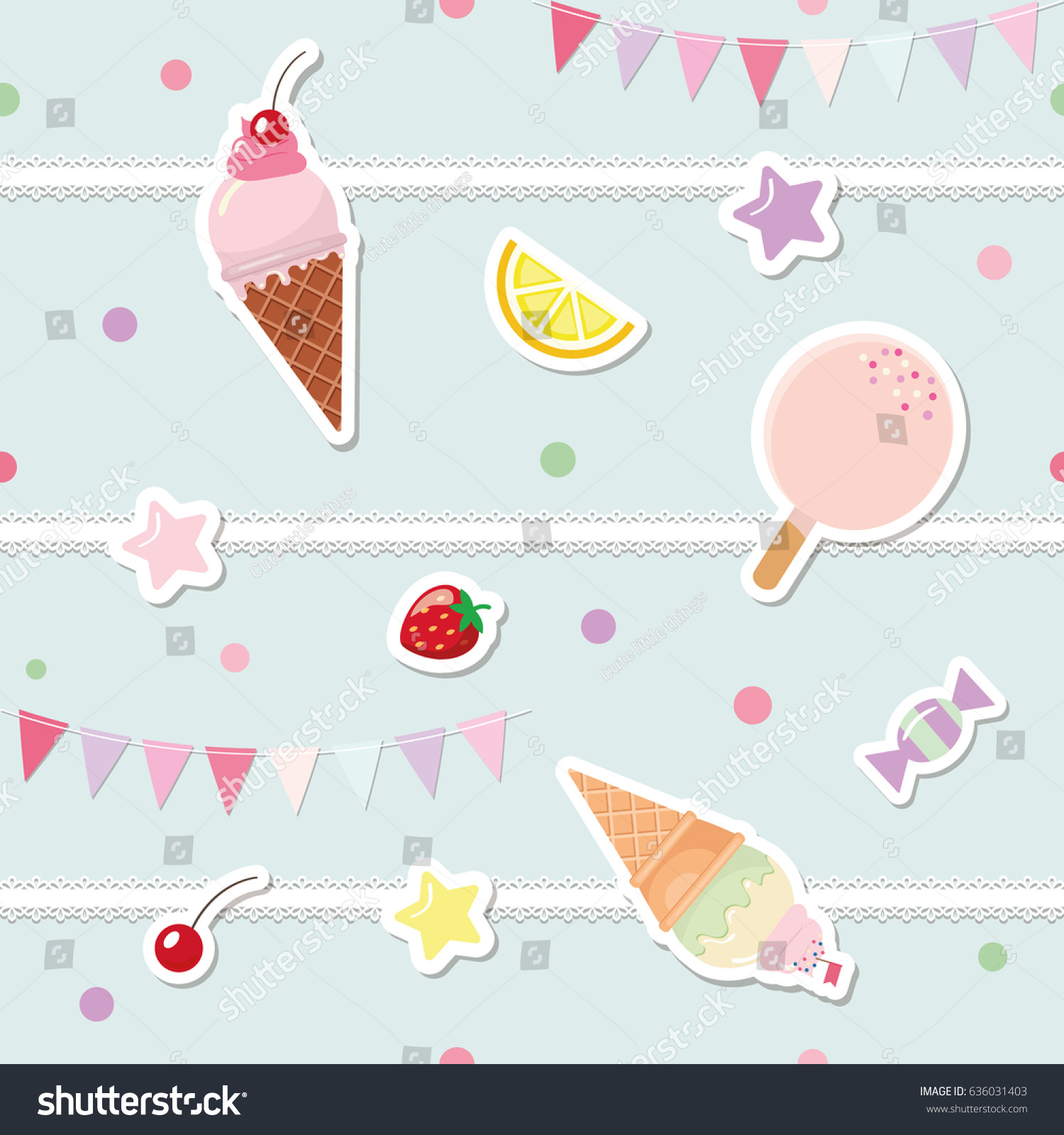 Festive Seamless Pattern Sweets Bunting Flags Stock Vector Royalty