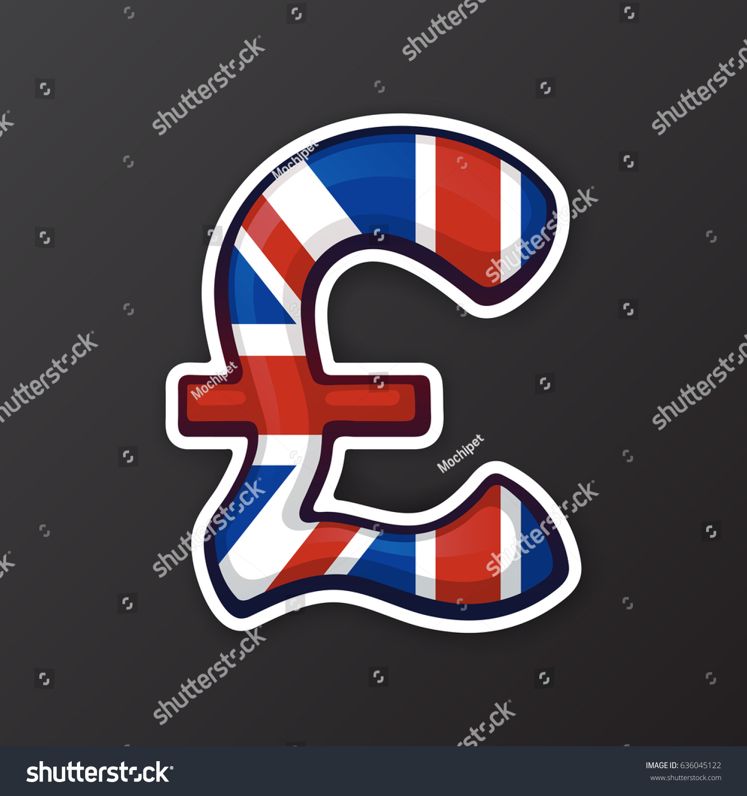 Vector Illustration Sign British Pound National Stock Vector