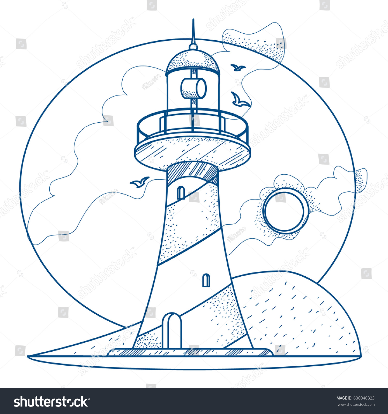 lighthouse contour illustration coloring stock vector 636046823