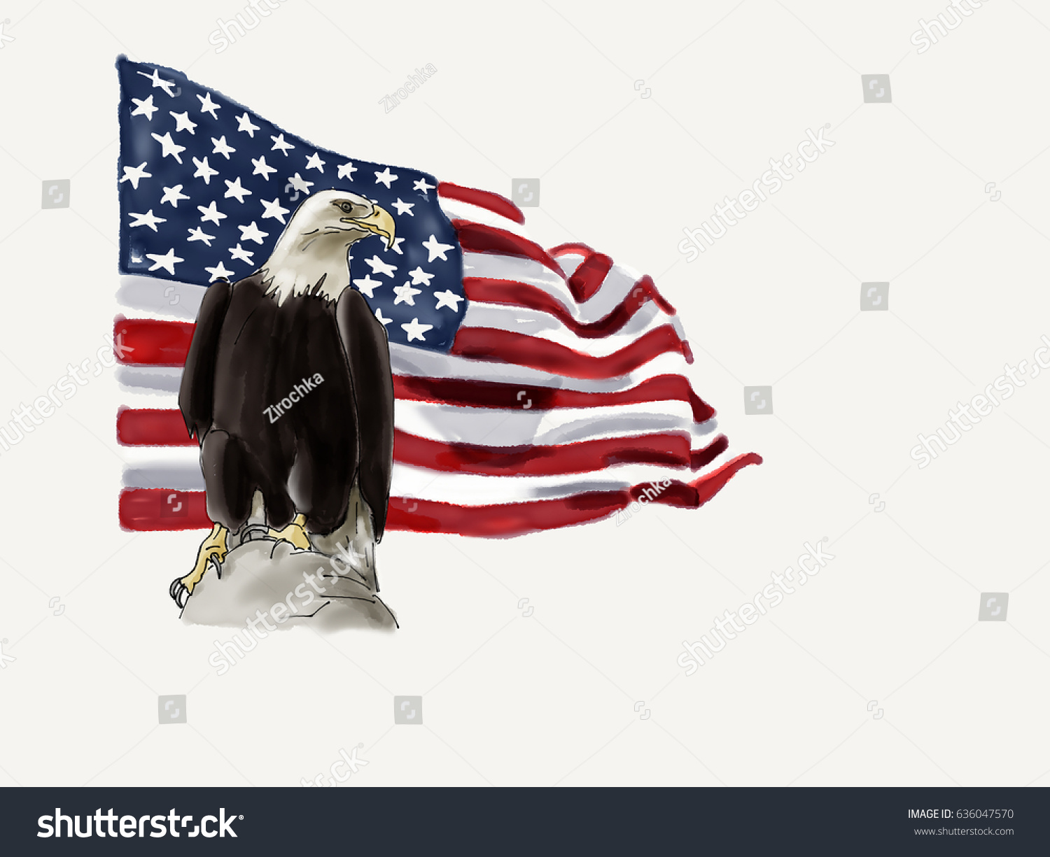 America Flag America American Eagle Symbol Handdrawn Watercolor