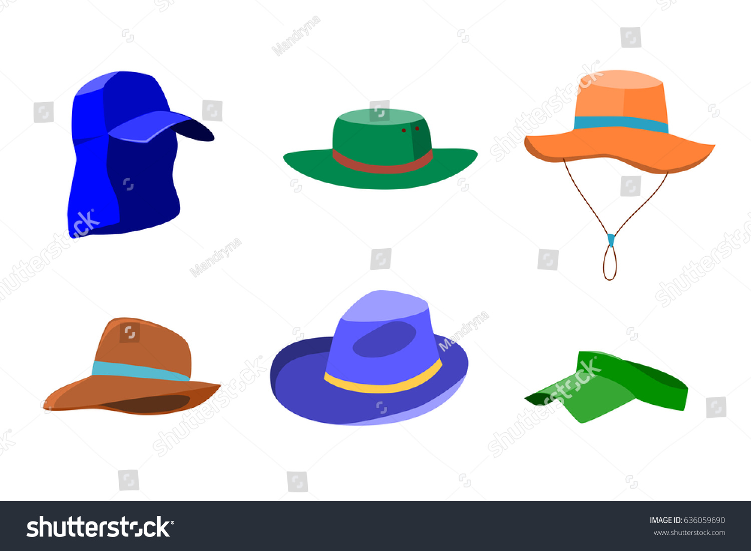 c4d3481cbcce2 Set of summer hats for men and women isolated on white background. Flat  style icons