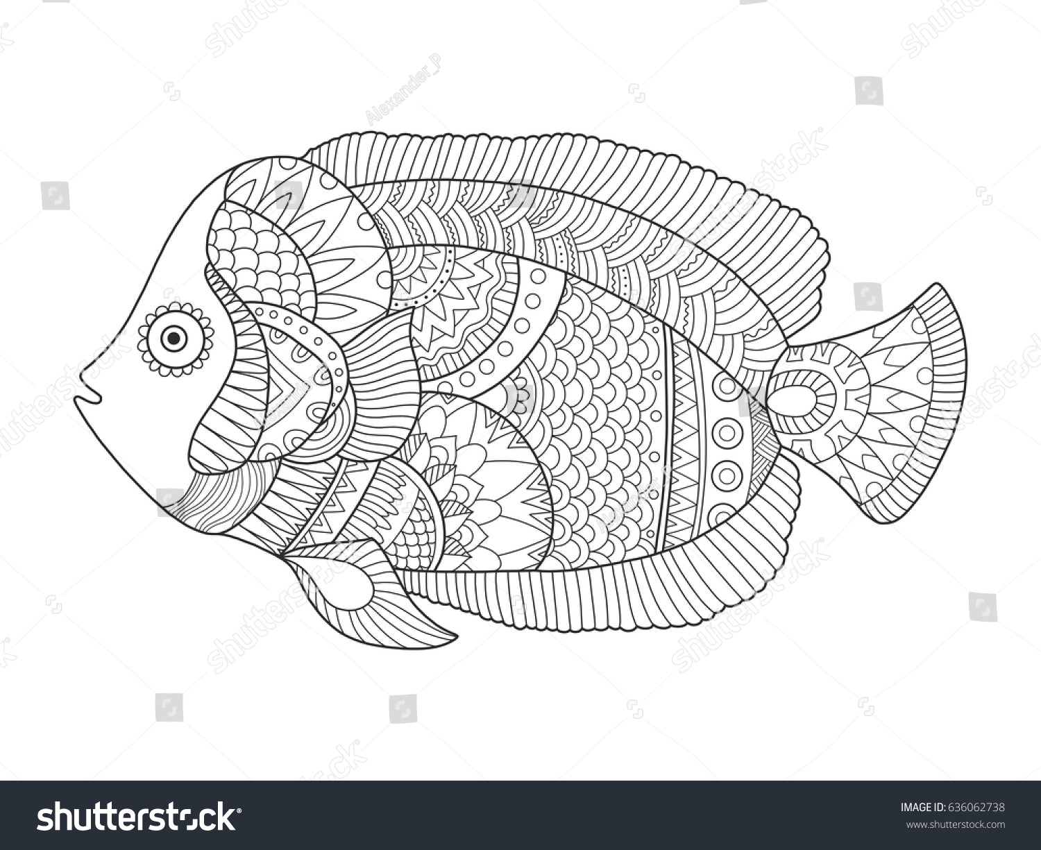 Angel Fish Coloring Book Vector Illustration Stock Vector (2018 ...