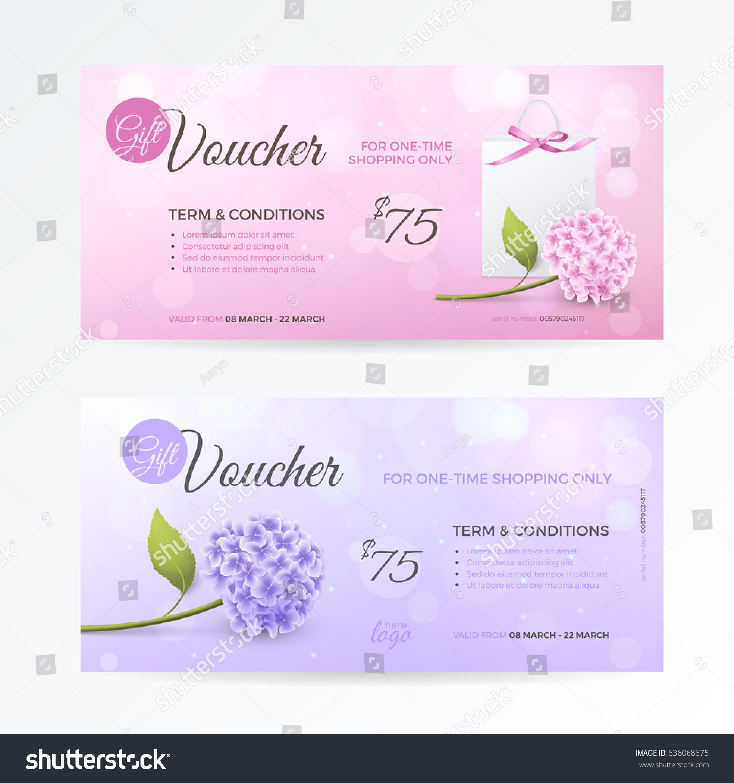 Set gentle gift vouchers hydrangea paper stock vector 636068675 set of gentle gift vouchers with hydrangea paper shopping bag bow on the pink yadclub Gallery