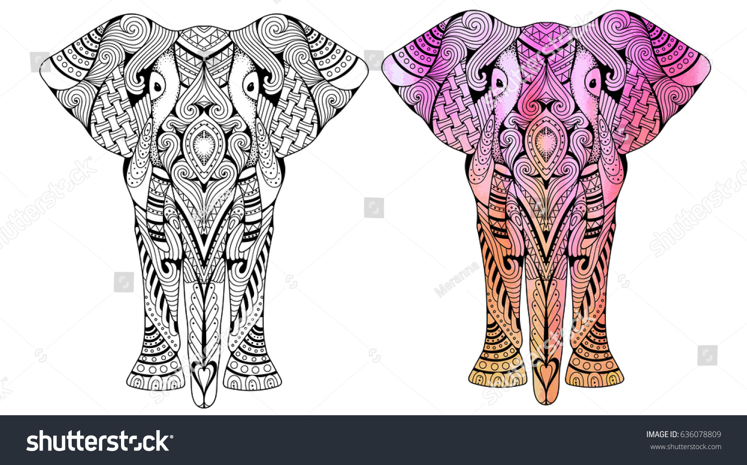 Elephant Coloring Book Adults Vector Illustration Stock Vector