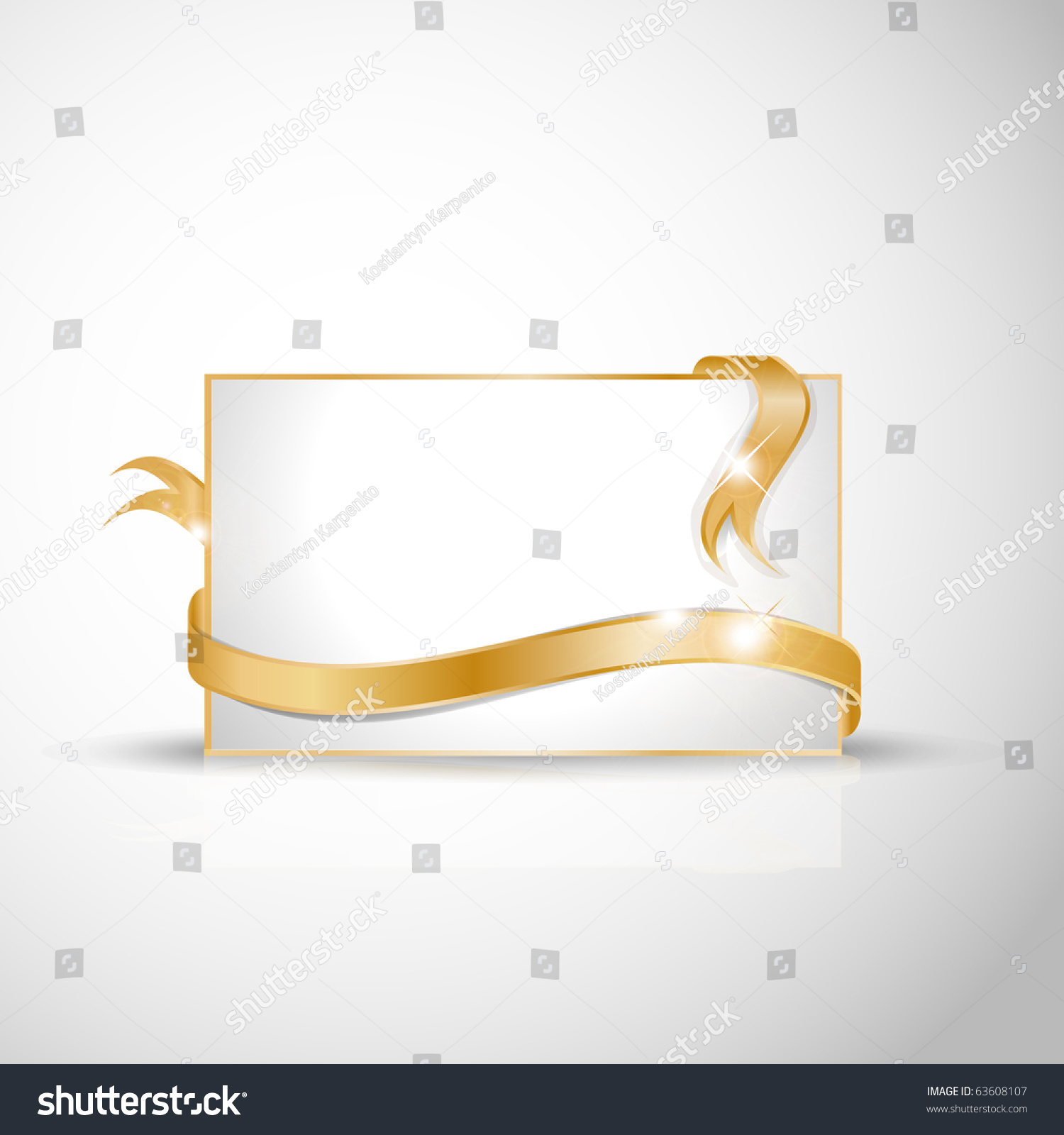 beautiful wedding card golden ribbon around stock vector  beautiful wedding card golden ribbon around blank white paper where you should write your