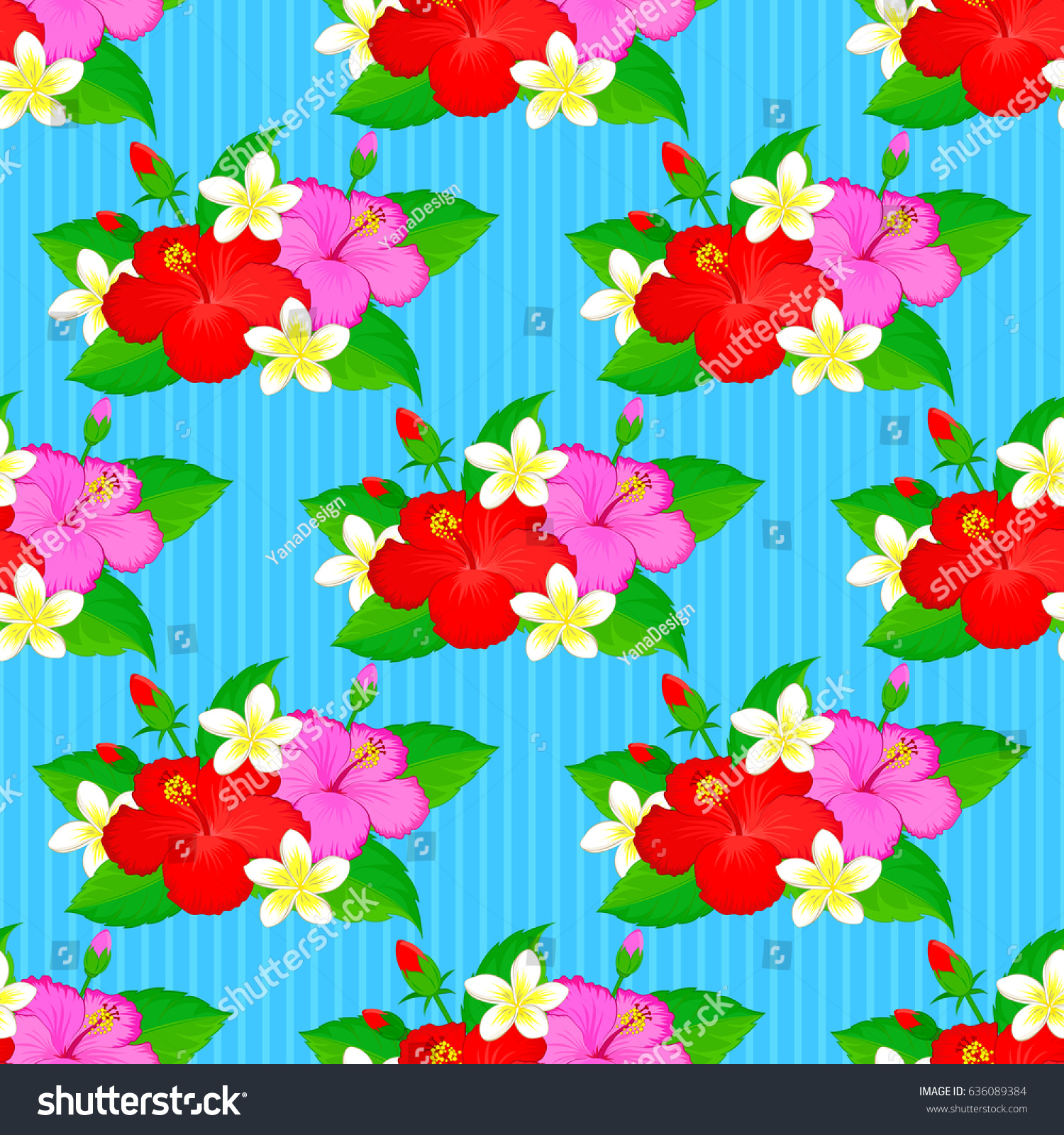 Soft Watercolor Hibiscus Flower Print Seamless Stock Illustration